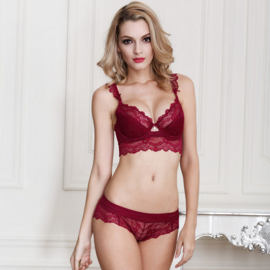 e2f654cbcc Women s sexy bra set lace underwear adjustable thin cup lingerie set flank  wide womens bras and underwear sets