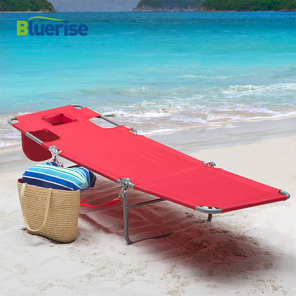 BLUERISE Outdoor Furniture Folding Beach Chair Three Positions Recline or Lay Flat Tanning Massage Reading Lounge Chaise Red цена