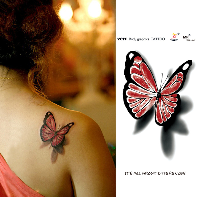 152fe013964ba Temporary Tattoo 3D Butterfly Tattoo Sticker Fake Waterproof Sexy Product  Body Art Design Free Shipping