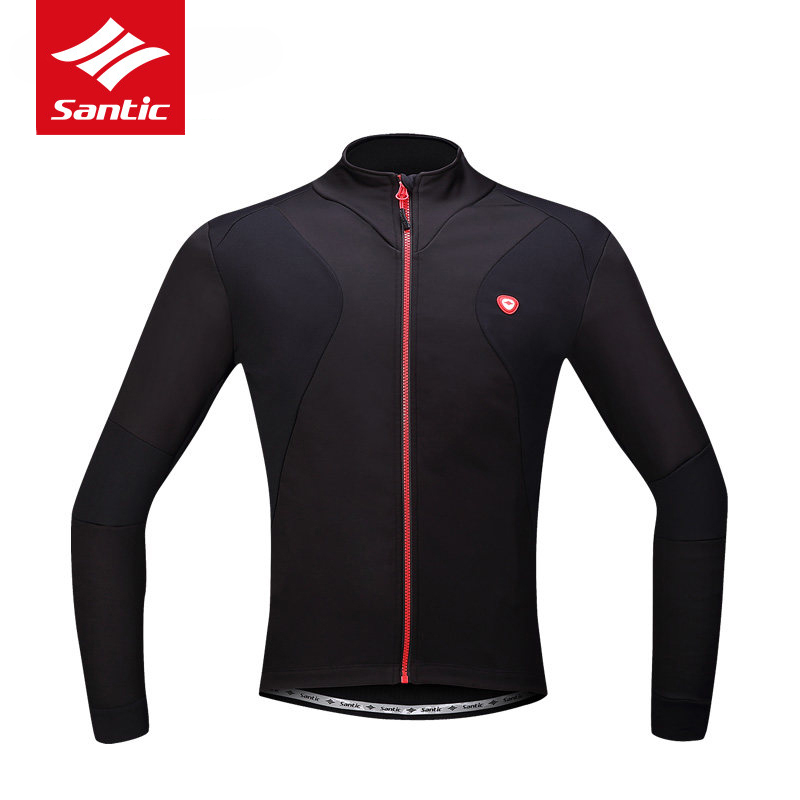 Santic Mens Tour de France Cycling Jacket Thermal Fleece Wind Coat Black Long Sleeve Autumn Winter Bike Bicycle Jacket Ciclismo lance sobike men s autumn winter bicycle bike cycling jersey cothing outdoor sport fleece thermal long sleeve jacket wind coat page 3 page 2 page 2 page 2