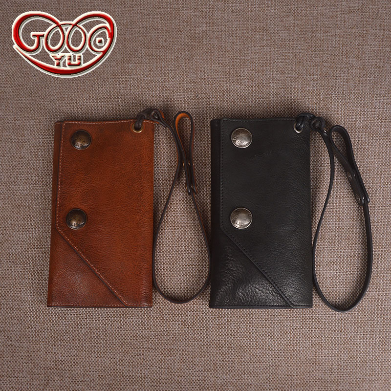 Hot models imported vegetable tanned leather men's long wallet first layer of leather hand-colored multi-card bit wallet olg yat italian vegetable tanned cowhide handmade long section of hasp art wallet elegant retro handbag fiscal cloth