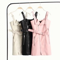 PU Leather Women's Dress Strap Leather Dress Autumn and Winter New Dresses Woman Party Night Vestidos Verano 2018 Leather Dress