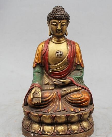 Old Tibet Tibetan Buddhism Silver Seat Sleep Shakyamuni Sakyamuni Buddha Statue