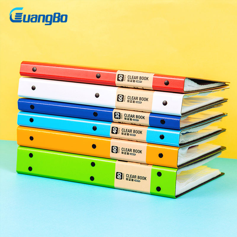 GUANGBO A4 Folder for Documents Stationery Products Office Accessories Business Double Clip Folder Colorful Clip File Holder deli a4 file folder for documents office stationery supplies pp folder data book folder 80 pages a4 clip business folder