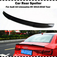цена на A3 S3 8V Carbon Fiber Rear Trunk Lip Spoiler Wing For Audi A3 S3 8V Limousine Sedan 2014-2018 V Style CF rear spoiler