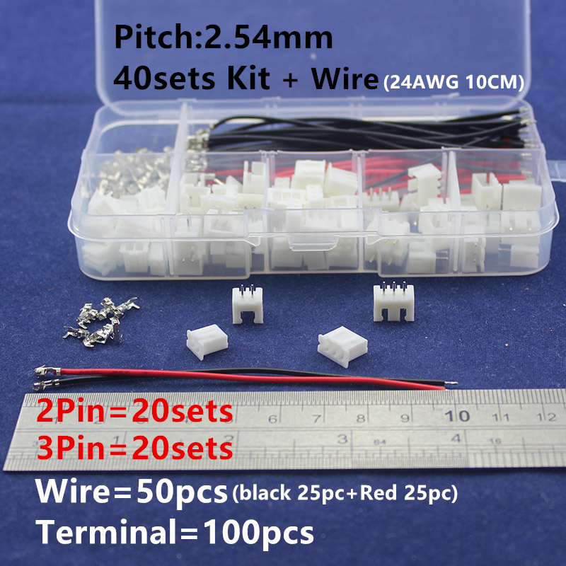 40 sets Kit & 50pcs 24AWG 10cm wire in box 2p 3p  2.54mm Pitch Terminal / Housing / Pin Header Connector Wire Connectors Adaptor 50 sets kit in box 2p 3p 4 pin 2 54mm pitch terminal housing pin header connector wire connectors adaptor xh2p kits