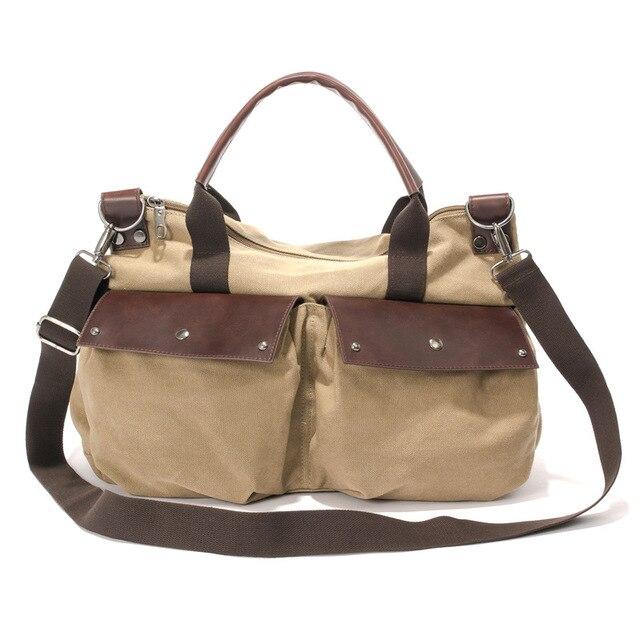 Fashion Large Capacity Canvas Travel Hangbags Khaki Casual Men s Messenger  Bags Women s Versatile Single Shoulder Bags 4cbd79031def9