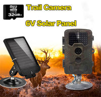 무료 배송! 32 기가바이트 H801W 12mp 적외선 ir 디지털 트레일 게임 사냥 카메라 + 6 볼트 태양 배터