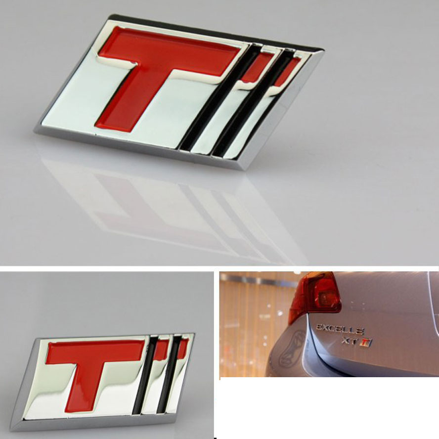 BBQ@FUKA Auto Car Metal T Turbo Emblem Trunk Badge Sticker Fit for Cruze Excelle Regal HRV Impala Malibu car stickers car covers