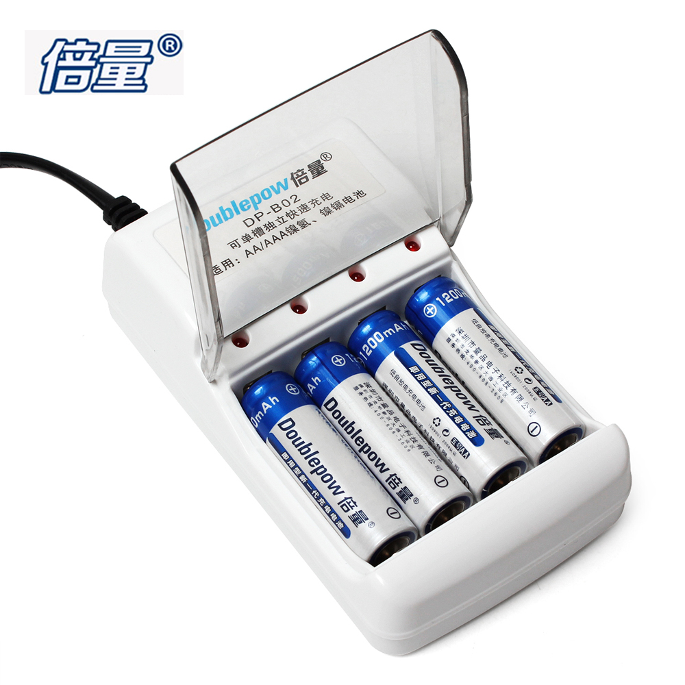 Doublepow 4 Slots Quick Intelligent Battery Charger for AA AAA Ni-MH Ni-CD Battery + 4pcs 1200mAh AA Rechargeable Batteries