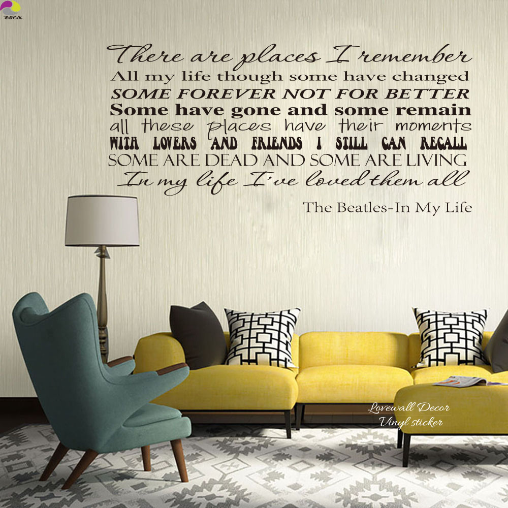 The Beatles Song Lyrics Wall Sticker Living Room In My Life Inspiration  Song Lyrics Wall Decal Bedroom Kids Room Vinyl Decor In Wall Stickers From  Home ...