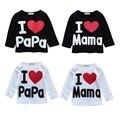 Amo Papá Mamá Bebé Recién Nacido Niño Niña de Manga Larga T Shirts Tops Ropa
