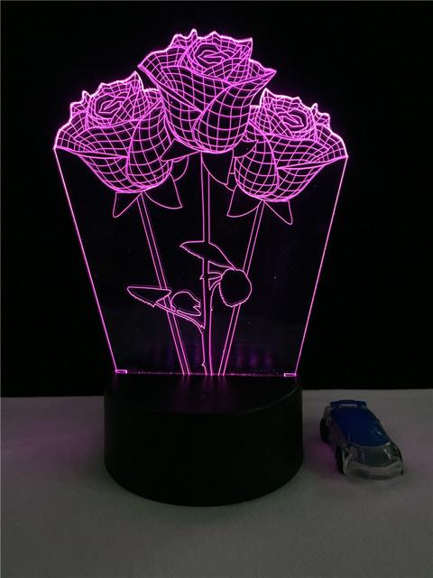 3D LED Hologram – Nočné svetlo – Three Romantic Rose