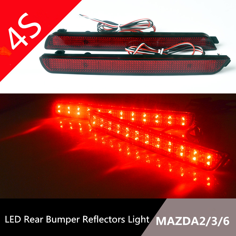 NEW LED Rear Bumper Reflectors Light for MAZDA2/3/6 Car Accessories Red Brake Lights LED Parking Warning Night Driving Fog Lamp 2pcs red rear bumper reflectors light brake parking warning night runing tail lamps led for honda odyssey 2007