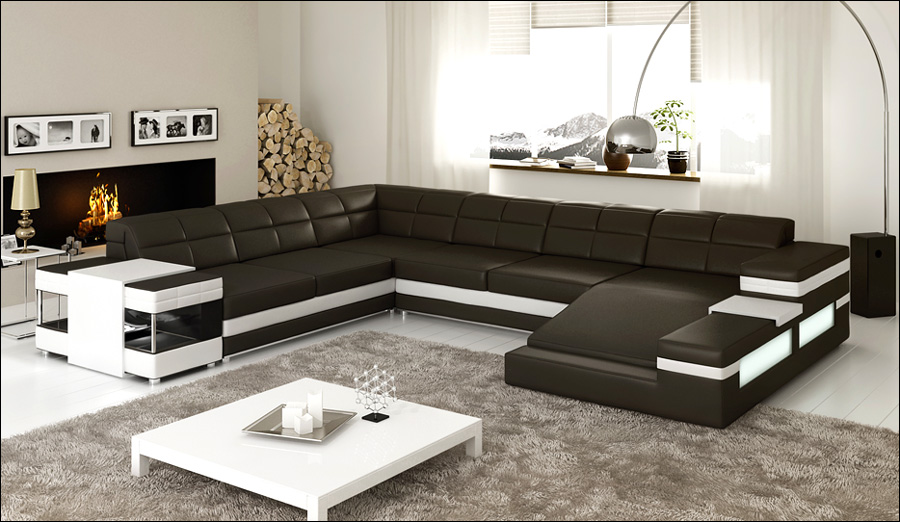 Buy Modern Living Room Genuine Black Leather Sofa 0413 C4012