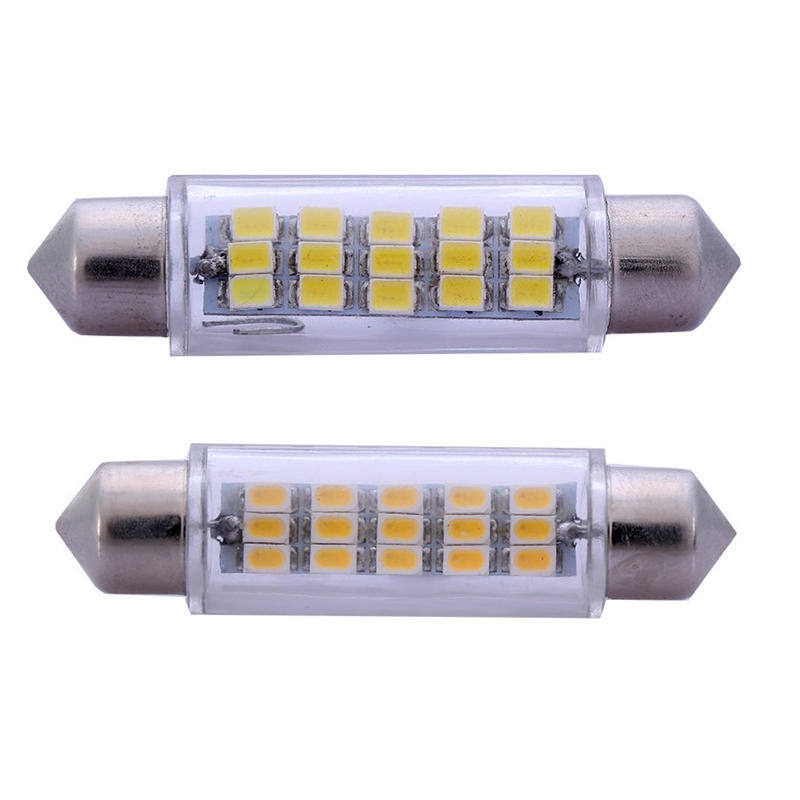 2pcs/lot 43mm 3020 SMD 15 LED Car Led  Interior Dome Festoon Vehicle Reading Light C5W White Led Lamp Auto Parking Bulb 12V 31mm 36mm 39mm 41mm c5w c10w canbus no error auto festoon light 12 smd 4014 led car interior dome lamp reading bulb white dc 12v