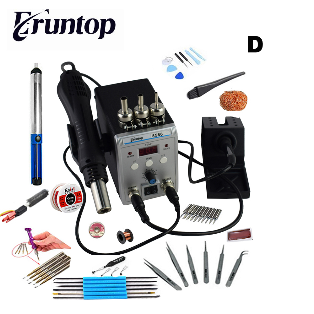 High Quality 750W 2 in 1 SMD Rework Soldering Station New Eruntop 8586 Hot Air Gun + Solder Iron