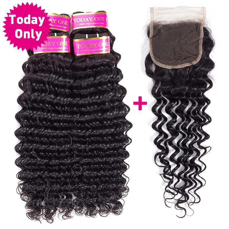 [TODAY ONLY] Brazilian Deep Wave 4 Bundles With Closure Remy Human Hair Bundles Brazilian Hair Weave Bundles With Closure