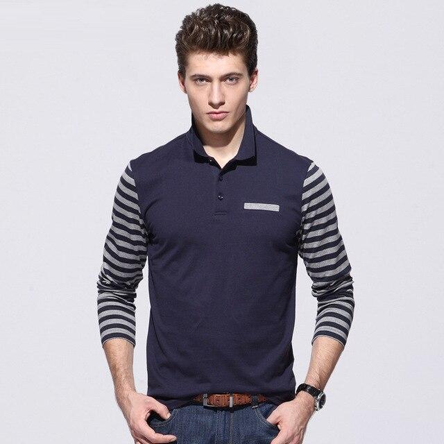 Men polo shirt [Место] compassionate мужчины Осень полосатый с длинным рукавом polo рубашки лоскутное шитье Мужчины повседневная поло