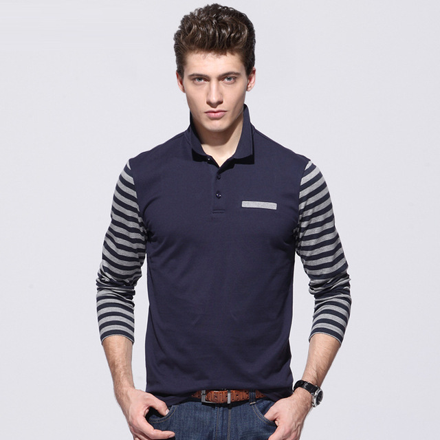 Men polo shirt [Spot] compassionate men Men Autumn striped long sleeve polo shirts patchwork stitching Men casual  polos