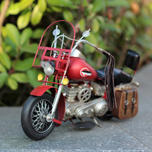 Antique Classical Motorcycle Model Photo Props Retro Wrought Metal Crafts Home Decoration Iron Arts Collection Ornaments