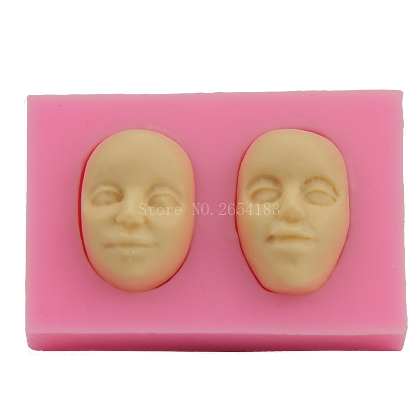 Two Person Face Silicone Fondant Soap 3D Cake Mold Cupcake Jelly Candy Chocolate Decoration Baking Tool Moulds FQ1665