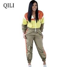 QILI Women Waterproof Luminous Jumpsuits Hoodies Long Sleeve Zipper Patchwork Jumpsuit Fashion Casual Tracksuit Plus Size