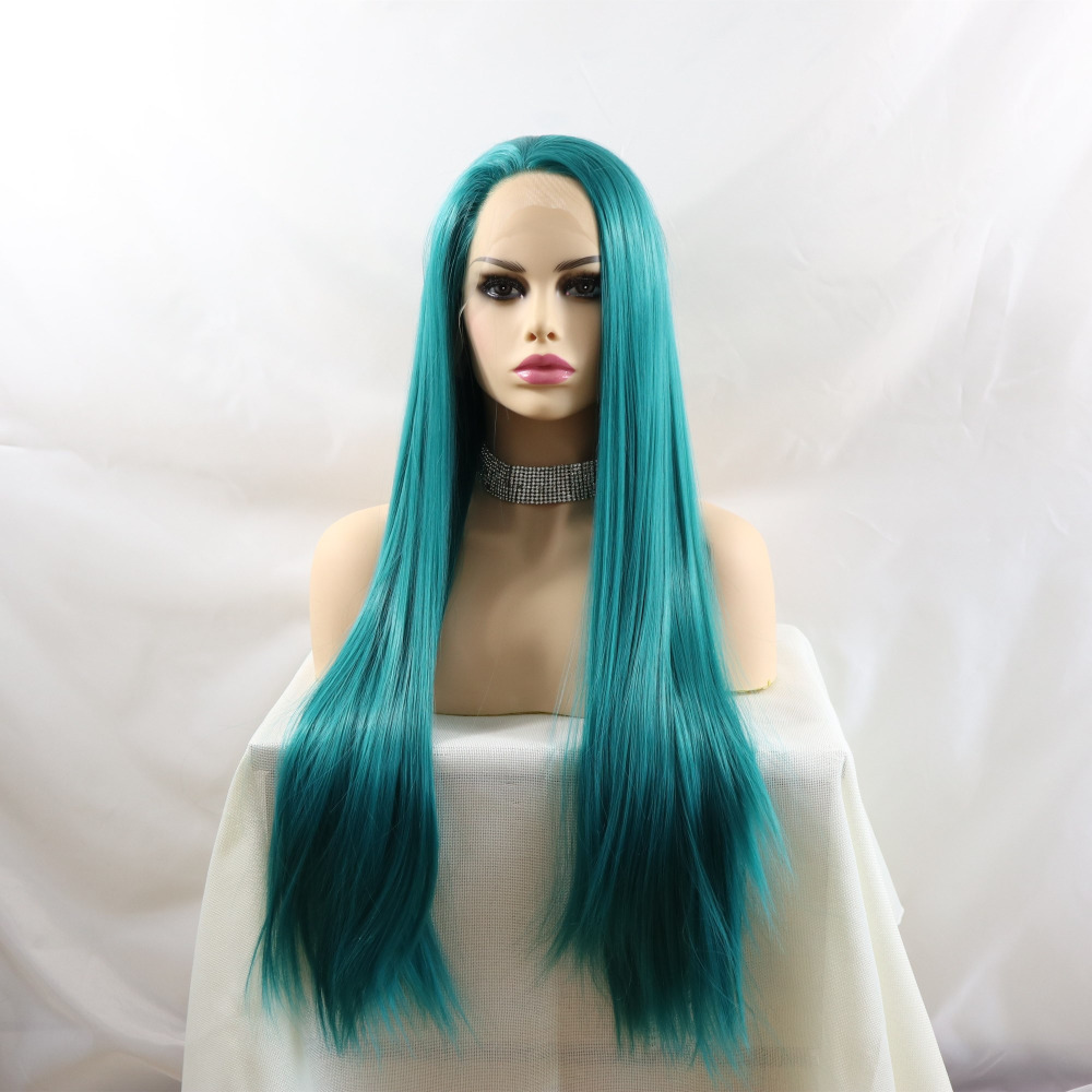 Fantasy Beauty Synthetic Lace Front Wig Light Blue Wig Realistic Looking Long Straight Heat Resistant Fiber