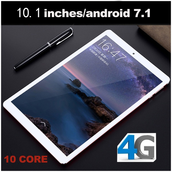 Newest WiFi Tablet PC 10.1 Inch Ten Core 4G Network Android 7.1 Arge 12800*800 IPS Screen Dual SIM Call Phone( 6G+16/64G/128G)