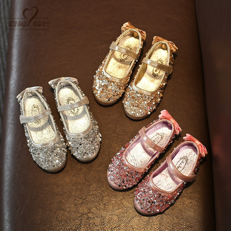 Girls Princess Shoes 2019 New Toddler Autumn Children Bow Shoe Sequins Kids Strap Flats for Girls