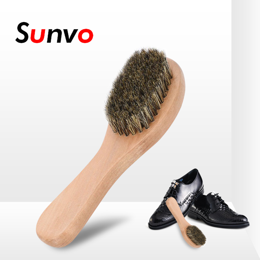 Wood  Long  Polish  Horse Hair Brush  Dauber Cleaning  Shoe  Shine  Handle