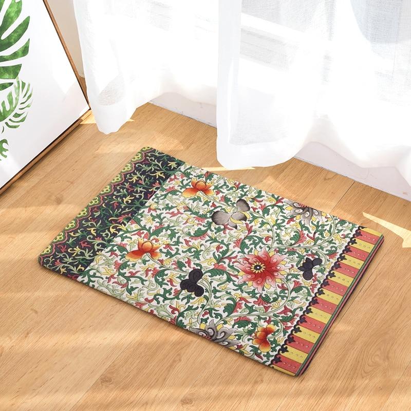 Home Decor Flowers Print Mats Bedroom Door Entrance Carpet