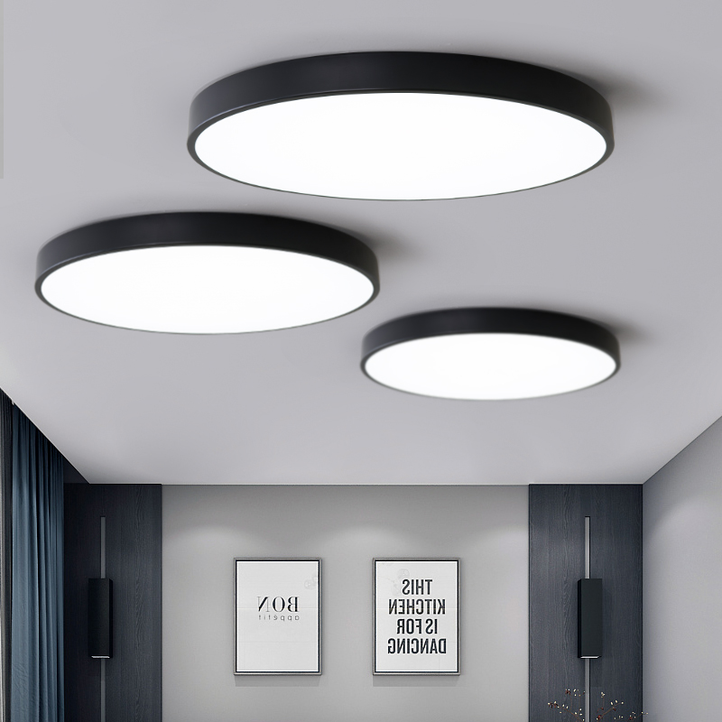 ultra fino rodada levou luzes de teto sala de estar moderno e minimalista atmosfera inicio quarto
