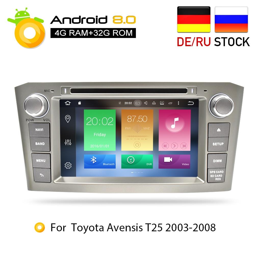 4G ram Android 8.0Car DVD стерео Мультимедиа головного устройства для Toyota Avensis/T25 2003-2008 Авто Радио gps навигации видео аудио