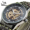 Brand SH Men's Sport watch Stainless Steel Skeleton Automatic Mechanical watches men Steampunk Military Clock Relogio Masculino