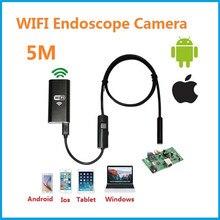Камеры эндоскопа Wi-Fi Android IOS 720 P 6 LED 8 мм 5 м Водонепроницаемый инспекции бороскоп пробки камеры промышленной endosco Нет USB