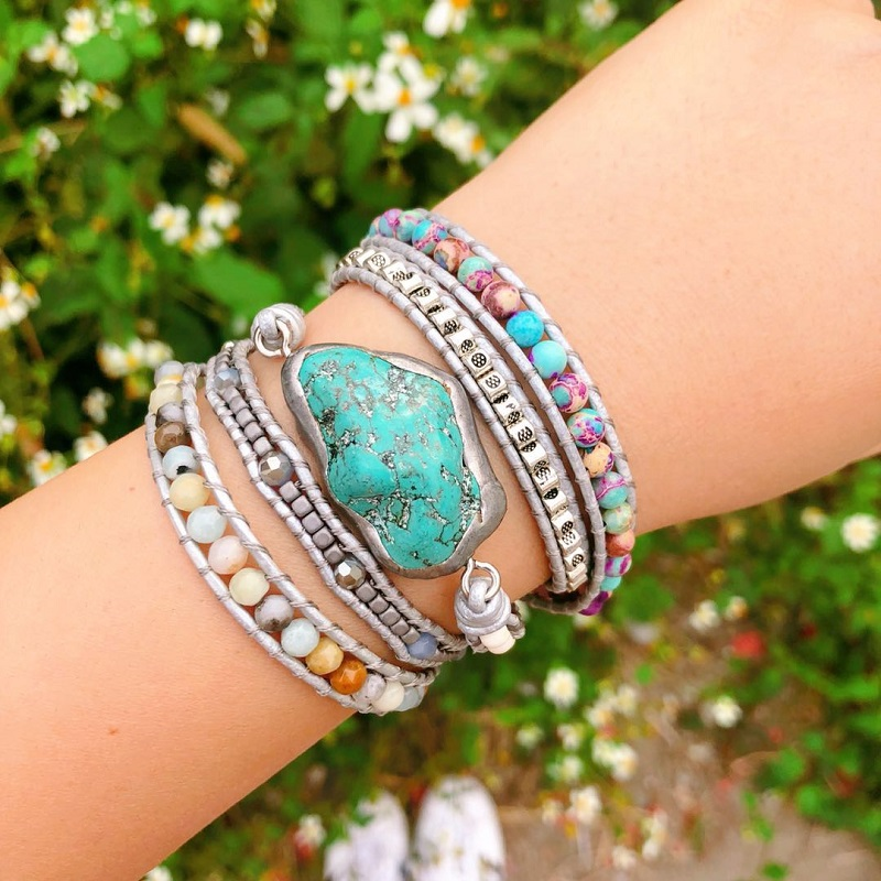 Image 4 - Newest Unique Mixed Natural Stones turquoises Charm 5 Strands Wrap Bracelets Handmade Boho Bracelet Women Leather Bracelet-in Wrap Bracelets from Jewelry & Accessories