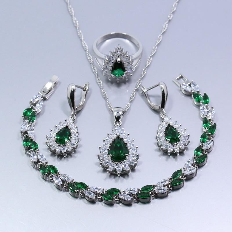 Wonderful Green Zircon 4PCS 925 Sterling Silver Women