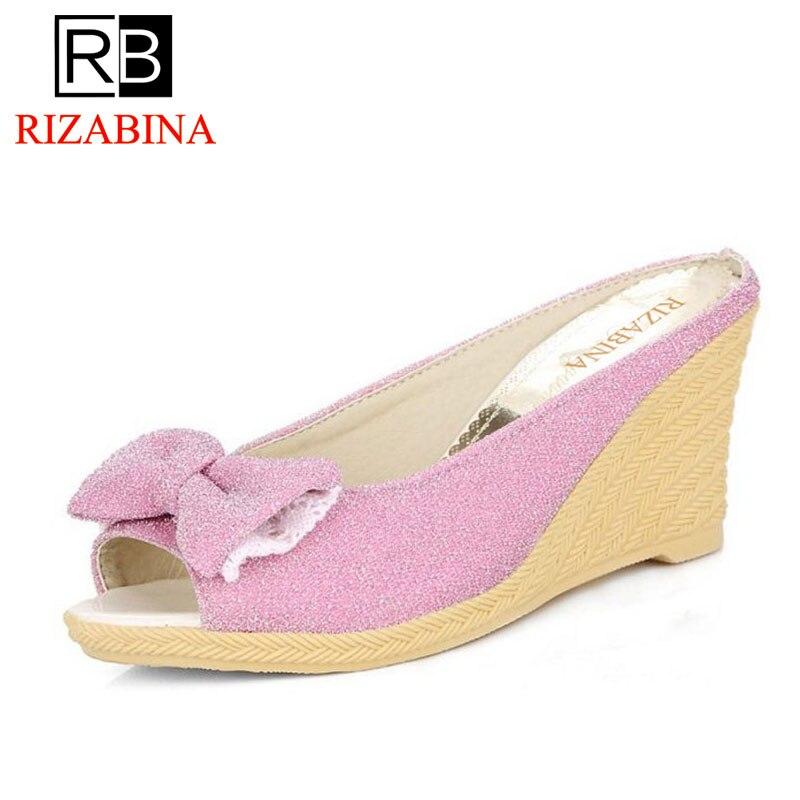 RizaBina Size 33-43 Womens High Heel Sandals Women Wedges Sweet Bowtie Shoes Fashion Casual Ladies Comfortable Footwear