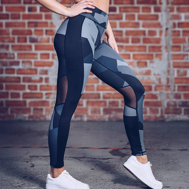 Whoerenty  2018 Women Fitness Leggings  Sportswear  Gothic Trousers Workout Elastic Knitted Printed Patchwork Lady Pants
