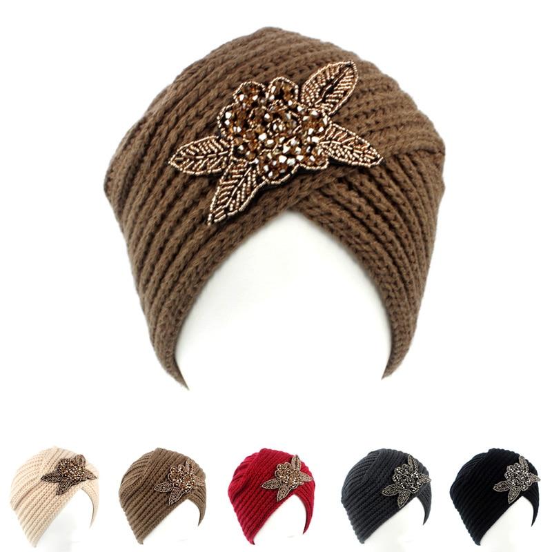 Women's Knitted Beanie Headband Crochet Headwrap beaded flower Jewel Winter Warm Turban KH-03