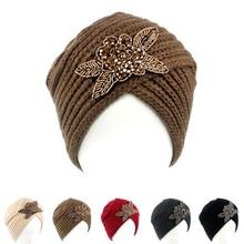 Beanie Headband Crochet Headwrap beaded flower