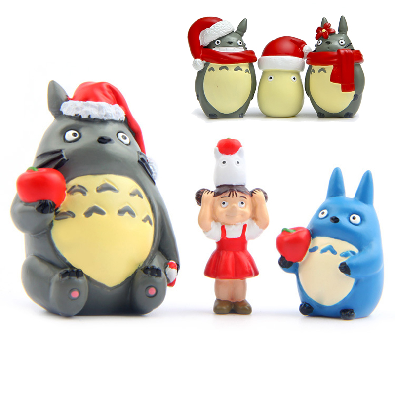 Anime Coal Balls With Scarf Totoro Christmas Party Model My Neighbor Totoro Figurine Totoro Briquettes Figure With Christmas Hat