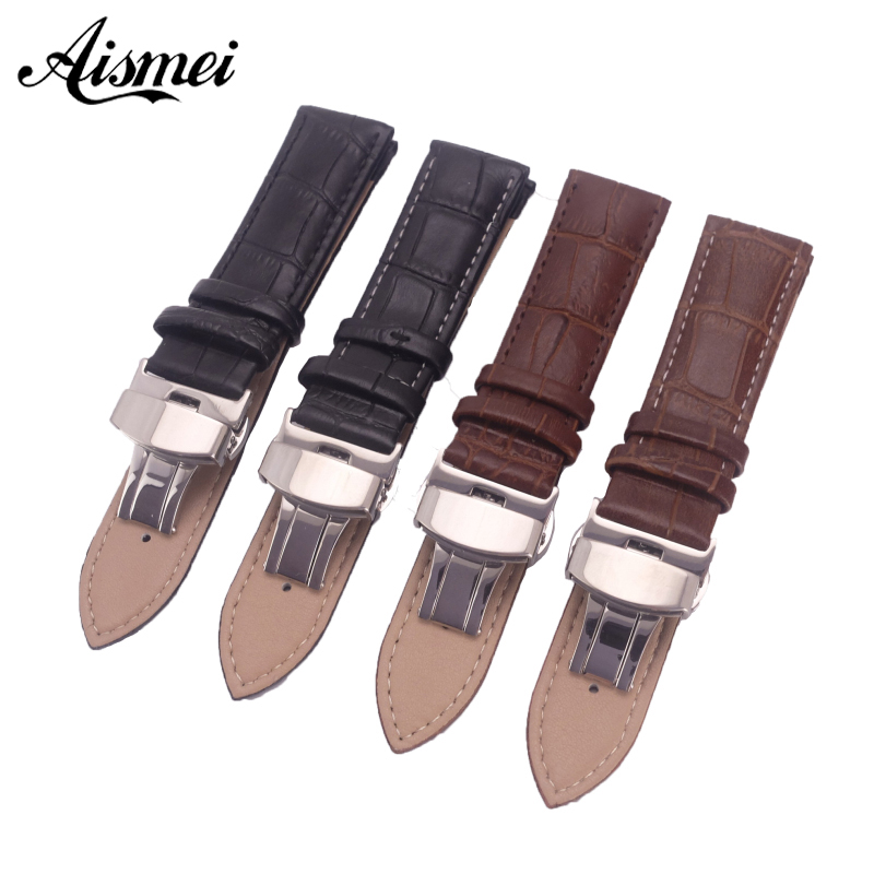 12mm 14mm 16mm 18mm 19mm 20mm 21mm 22mm 24mm Watchband Genuine Leather Strap push buttom clasp Alligator Grain Watch Bands 12mm 14mm 16mm 18mm 19mm 20mm 22mm black genuine leather watchband ultrathin silver stainless steel leather strap