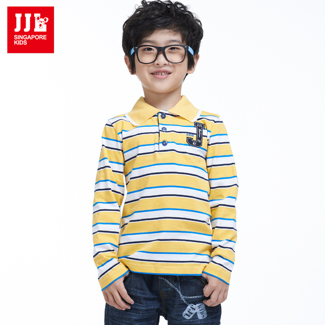 boys t shirts 100% cotton kids brand boys clothes striped design for children clothing long sleeves kids polo shirts  2015  new