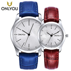 ONLYOU New Chinese Style Small Case Women Watches Female Red Leather Lover Wristwatches 5Bar Waterproof Men Clock Relojes Mujer