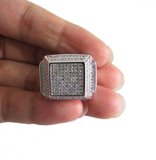 Free shipping luxury Real micro pave cz Yellow Yellow gold hip hop bling mens engagement rings