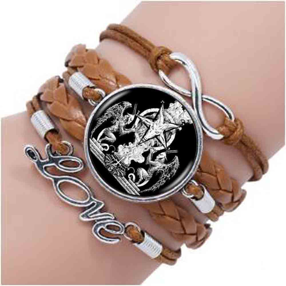 1pcs/lot Baphomet Pentagrama Logo Bracelet Bestselling Personality Black Vintage Handmade Bracelet Women Jewelry To Rank First Among Similar Products