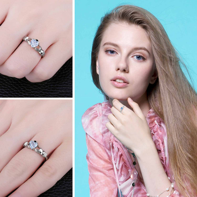 JewelryPalace Natural Aquamarine Irish Claddagh Ring Solid 925 Sterling Silver Love Heart Women Fine Gemstone Engagament Jewelry