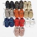28 colores nuevo mejor calidad de cuero genuino lace up double borla botas mocasines moccs Bebé suave zapatos infantiles Del Niño del bebé zapatos
